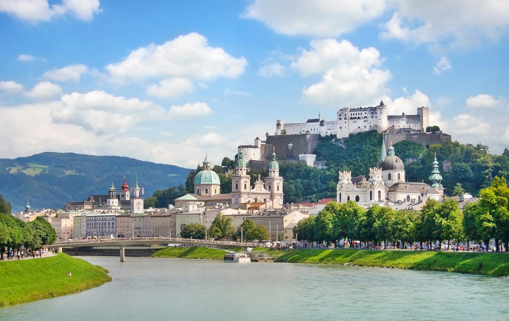 Salzburg skyline with river Salzach, Salzburger Land, Austria